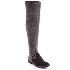 Soft grey over the knee boots